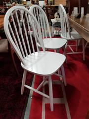 Sale 8822 - Lot 1198 - Set of Six White Curved Spindle Back Dining Chairs