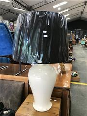 Sale 8868 - Lot 1518 - Pair of Tall Italian White Ceramic Table Lamps (3072)