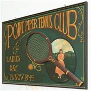 Sale 8990H - Lot 95 - A Point Piper tennis club timber sign promoting Ladies Day 1899.. 60x 90cm
