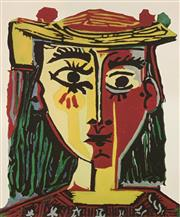 Sale 9080A - Lot 5055 - Pablo Picasso (1881 - 1973) - Bust of a Woman with Hat 26 x 22 cm (sheet: 43 x 30 cm)