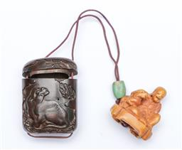 Sale 9093P - Lot 28 - Edo/ Meiji Ivory Netsuke of an Old Man and Finely Carved Signed Case