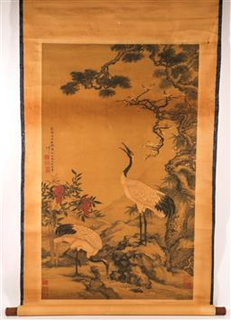 Sale 9110 - Lot 29 - Chinese printed scrolls (2), one featuring dragon, other featuring bird