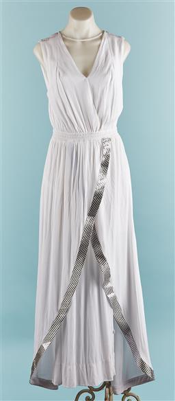 Sale 9092F - Lot 75 - A HUNT NO MORE MAXI DRESS; in white with V neck and geometric pattern to front, size 6