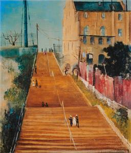 Sale 9252A - Lot 5054 - SALI HERMAN (1898 - 1993) McElhone Stairs, 1944 decorative print after original 50.5 x 43 cm (frame: 74 x 67 x 3 cm) gallery frame