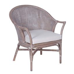 Sale 9250T - Lot 74 - A pair of rattan and linen occasional chairs in grey wash finish with cushions. Height 83cm x Width 69cm x Depth 71cm