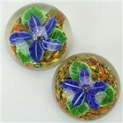 Sale 8399 - Lot 93 - Murano Castellani Pair of Floral Paperweights