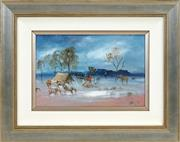 Sale 8443 - Lot 530 - Hugh Sawrey (1919 - 1999) - Outback Camp 19.5 x 29.5cm