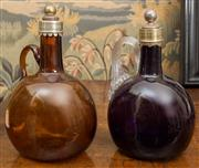 Sale 8435A - Lot 31 - Two C19th silver plated glass decanters in amethyst and amber, taller H 21cm