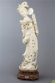 Sale 8555 - Lot 91 - Large Chinese Carved Ivory Figure of A Lady