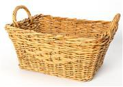 Sale 8599A - Lot 27 - A cane lattice work double handled basket, H 32 x W 57 x D 44cm.