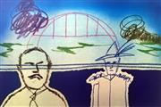 Sale 8756A - Lot 5013 - Sidney Nolan (1917 -1992) - Man, Trouper and Sydney Harbour Bridge 64 x 90cm