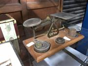 Sale 8789 - Lot 2318 - Set of Shop Scales with Weights ( W 20cm)
