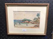 Sale 8797 - Lot 2077 - W.B.S. - Beach Scene, Watercolour, IILR, 11x17cm