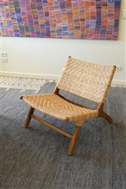 Sale 8858H - Lot 6 - Occassional Cane and Timber Slouch Chair, H 65 x 66 x 60 cm, as new -