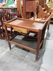 Sale 8988 - Lot 1092 - Oak Serving Trolley with Single Drawer (H:82 W:82 D:47cm)