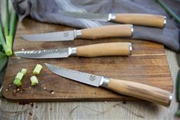 Sale 9138L - Lot 84 - USK Signature Tender Steak Knife Set of 4 - Olive Wood Handle