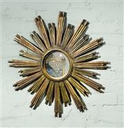 Sale 9087H - Lot 44 - Antique French carved timber sunburst design mirror 80 cm