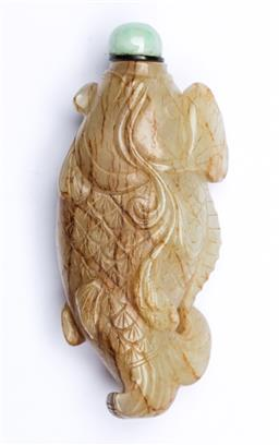 Sale 9093P - Lot 52 - Carved Soapstone Fish Form Snuff Bottle