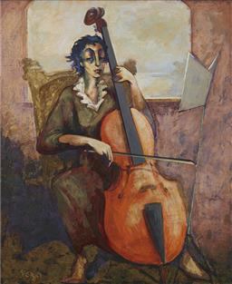 Sale 9118A - Lot 5012 - Gagik Tonyan - Lady Playing Cello, 2001 90 x 75 cm