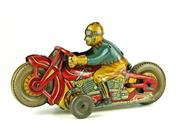 Sale 8330T - Lot 9 - 1930s Tinplate Clockwork Motorbike with Rider; probably Japanese, L6.