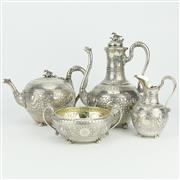 Sale 8342 - Lot 42 - English Hallmarked Sterling Silver Victorian Tea Set