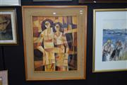 Sale 8419T - Lot 2016 - SM Lacambra (1978) 2 Women Oil On Canvas (69cm x 54) Signed And Dated Lower Left
