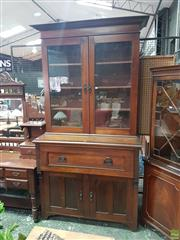 Sale 8601 - Lot 1479 - Edwardian Walnut Secretaire Bookcase, with two glass panel doors, fall front drawer & two timber panel doors (Key in Office)