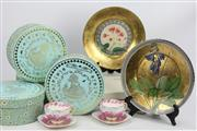 Sale 8654 - Lot 81 - Boxed Wedgwood Harlequin Cups And Saucers (4) Together With Robert Gordon Painted Plates (2)