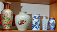 Sale 8735 - Lot 35 - A group of Oriental vases including Satsuma and blue and white (smallest vase repaired) Height of tallest 31cm