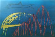 Sale 8756A - Lot 5014 - Sidney Nolan (1917 -1992) - Shark and Harbour Bridge 64 x 90cm