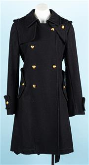 Sale 9083F - Lot 29 - CAMILA AND MARK BLACK DOUBLE BREASTED KATHERINE COAT; 100% wool and polyester, gold tone crested buttons, two side pockets with butt...