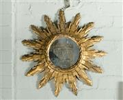 Sale 9087H - Lot 43 - Antique French carved timber sunburst design mirror - 62 cm