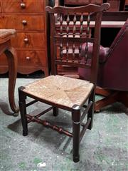 Sale 9085 - Lot 1006 - Assembled Set of Six Victorian Oak Lancashire Chairs, with two rows of spindles, rush seats & club legs