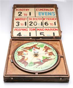 Sale 9093 - Lot 22 - A Cased Vintage Hand Painted Horse Racing Game (Box Size - 52x51cm)