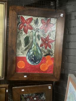 Sale 9111 - Lot 2046 - Colbey Red Flower and Oranges acrylic  81 x 61cm (frame) signed