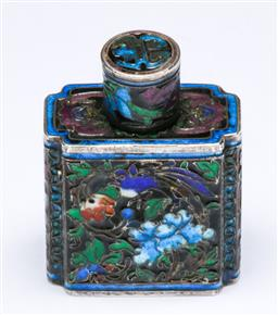 Sale 9153 - Lot 36 - A Chinese sterling silver & enamel snuff bottle H4cm