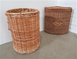 Sale 9154 - Lot 1089 - Lidded cane hamper & another (h60 x d47cm)