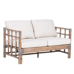 Sale 9250T - Lot 76 - A two seater sofa featuring thick rattan frame & linen cushions. Height 64cm x Width 127cm x Depth 73cm