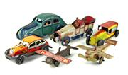 Sale 8330T - Lot 45 - Juguetes Tinplate Push Along Car and Penny Toys; 3 cars (1 repainted) and two planes mostly marked Made in Japan, L 3-5.