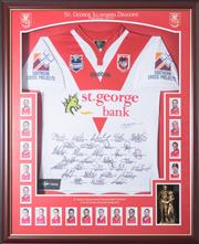 Sale 8338A - Lot 71 - A framed St George Illawarra jersey, signed by the 2010 premiers, total H 109 x W 89cm