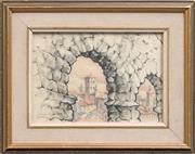 Sale 8427 - Lot 598 - Robert Emerson Curtis (1898 - 1996) - Roman Aqueduct Segovia Spain, 1970 16 x 24cm