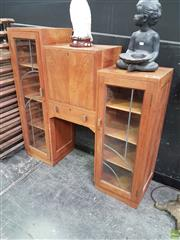 Sale 8601 - Lot 1003 - Timber Stepside Bureau with Two Glass Panel Doors & Drop Front (H: 123 W: 122 D: 35cm)