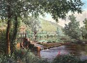 Sale 9047 - Lot 523 - René Charles Edmond His (1877 - 1960) - French Riverscape 42 x 71 cm (frame: 75 x 94 x 6 cm)