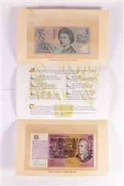 Sale 9035M - Lot 853 - Note Printing of Australia First Plastic $5 printing and the last paper $5 note printing