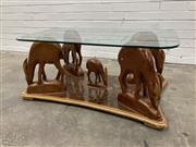 Sale 9063 - Lot 1035 - Carved Timber Deer Themed Coffee Table with Glass Top (H:43 W:97 D:56cm)