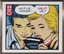 Sale 9081A - Lot 5091 - Artist Unknown - Help us Father, Satanic Bible, 2002 36.5 x 43 cm (frame: 44 x 52 x 2 cm)