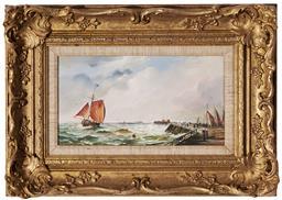 Sale 9190H - Lot 90 - Robert Dumont-Smith (1908 - 1994) - Maritime Scene 16 x 29.5 cm (frame: 35 x 48 x 5 cm)