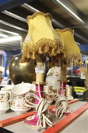 Sale 8351 - Lot 60 - Porcelain Hand Painted Pair of Bedside Lamps (Cords Cut)