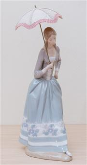 Sale 8430 - Lot 56 - A large Lladró figure of a young lady with painted dress and parasol. Height 48cm.