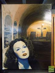 Sale 8483 - Lot 2032 - Jane Ianniello Hedy Lemarr and Monastery Unframed Oil on Canvas 100x75cm, signed verso